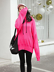 Women's Going out Casual/Daily Regular Pullover,Solid Hooded Long Sleeves Elastane Fall Winter Medium Micro-elastic