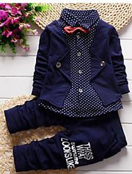 abordables -Ensemble de Vêtements Garçon Points Polka Coton Printemps Manches Longues Bleu Vert Rouge Gris