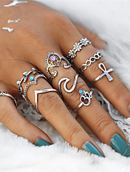 cheap -Women's Rhinestone Crystal / Alloy Leaf / Flower Infinity Rings Set - Irregular / Infinity Vintage / Elegant / Sweet Silver Ring For