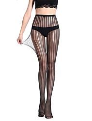 Women's Hosiery Thin Pantyhose,Nylon Striped Jacquard One-piece Suit Black