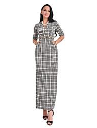 cheap -Women's Daily Sheath Dress,Plaid Round Neck Maxi Long Sleeve Polyester All Season Mid Rise Micro-elastic Opaque