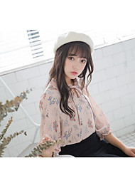 cheap -Women's Daily Wear Cute Blouse,Floral Round Neck Half Sleeves Cotton