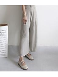 Feminino Simples Vintage Cintura Alta Sem Elasticidade Perna larga Chinos Calças,Perna larga Chinos Sólido