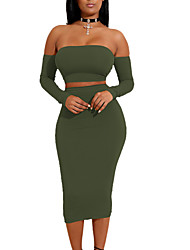 cheap -Women's Daily Club Casual Sexy Bodycon Dress,Solid Off Shoulder Knee-length Long Sleeves Polyester Mid Rise Micro-elastic Medium