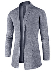 cheap -Men's Daily Casual Regular Cardigan,Solid Shirt Collar Long Sleeves Cotton Spring/Fall Cross-Seasons Medium Stretchy