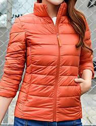 Dámské Dlouhý kabát Jednoduchý Běžné/Denní Jít Jednobarevné-Kabát Polyester Dlouhý rukáv