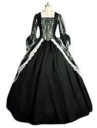 Victorian Rococo Costume Female Party Costume Masquerade Black Vintage Cosplay Lace Linen Satin Long Sleeves