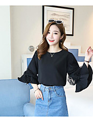 cheap -Women's Others Street chic Autumn Blouse,Solid Round Neck Long Sleeves Cotton