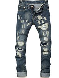 baratos -Masculino Casual Cintura Média Com Stretch Jeans Chinos Calças,Sólido Linho Primavera/Outono