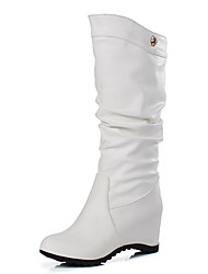 cheap -Women's Shoes Leatherette Fall / Winter Fashion Boots Boots Round Toe Mid-Calf Boots Buckle for Dress White / Black / Brown
