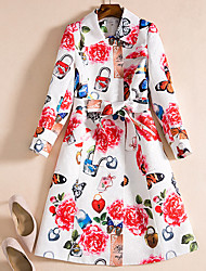 cheap -Women's Daily Chinoiserie Winter Fall Coat,Floral Print V Neck Long Sleeve Long Cotton Acrylic Bow