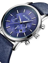 Недорогие -BIDEN Муж. Наручные часы Японский Календарь / Повседневные часы Кожа Группа На каждый день / Мода / Элегантный стиль Черный / Темно-синий