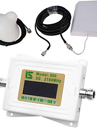 Mini Intelligent LCD Display UMTS 3G980 2100MHz Mobile Phone Signal Booster Repeater with Outdoor Panel Antenna / Indoor Ceiling Antenna White