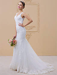 cheap -Mermaid / Trumpet V-neck Chapel Train Lace Tulle Wedding Dress with Beading Appliques Lace by LAN TING BRIDE®
