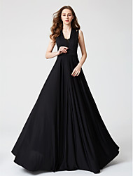 cheap -A-Line Halter Floor Length Lace Jersey Formal Evening Dress with Lace Pleats by TS Couture®