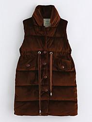 cheap -Girls' Solid Vest, Cotton Sleeveless Brown