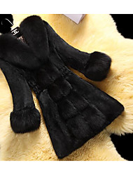 cheap -Women's Daily Going out Sophisticated Winter Fall Fur Coat,Solid V Neck Long Sleeves Long Faux Fur