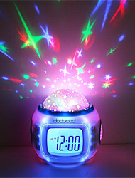 cheap -1pcs Music Starry Sky Projection Color Change LED Digital Projection Alarm Clock BedRoom Night Light No Battery