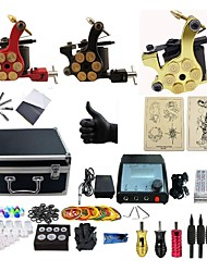 cheap -Tattoo Machine Professional Tattoo Kit 3 rotary machine liner & shader High Quality 2 x aluminum grip 4 x disposable grip 50 Classic Daily