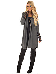 Women's Holiday Casual/Daily Street chic Fall Trench Coat,Hollow Peter Pan Collar Long Sleeves Long Polyester