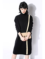 Women's Going out Tunic Dress,Solid Turtleneck Knee-length Long Sleeves Wool Fall Winter Mid Rise Micro-elastic Medium