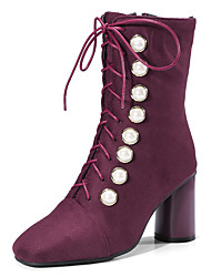 cheap -Women's Shoes Nubuck leather Fall Winter Fashion Boots Boots Square Toe Mid-Calf Boots Imitation Pearl For Party & Evening Dress Wine