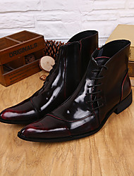 cheap -Men's Shoes Real Leather All Season Combat Boots Boots Booties/Ankle Boots Buckle For Wedding Party & Evening Dark Red