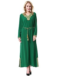cheap -Women's Party Casual/Daily Vintage Loose Jalabiyah Kaftan Dress,Solid Jacquard V Neck Midi Long Sleeve Wool Polyester All Season Mid Rise