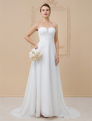 cheap -A-Line Sweetheart Sweep / Brush Train Chiffon Lace Wedding Dress with Appliques Buttons by LAN TING BRIDE®