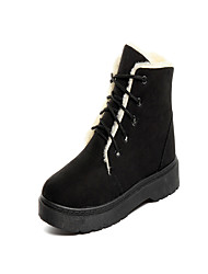 Women's Shoes PU Winter Fall Comfort Boots Flat Heel Round Toe For Casual Black Gray Brown Pink