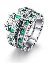 preiswerte -Damen Bandring Kubikzirkonia 2 Dunkelgrün Zirkon Silber Geometrische Form Klassisch Retro Freizeit Elegant Modisch Hochzeit Alltag