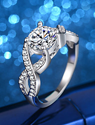 Women's Engagement Ring Band Rings Cubic Zirconia Rhinestone Vintage Elegant Silver Cubic Zirconia Infinity Jewelry For Wedding Evening