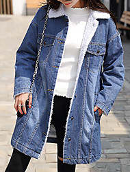 cheap -Women's Daily Simple Casual Winter Fall Denim Jacket,Solid Shirt Collar Long Sleeves Long Cotton