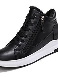 Недорогие -Жен. Обувь Искусственное волокно Зима Удобная обувь Кеды На плоской подошве Круглый носок для Повседневные Белый Черный