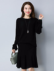 cheap -Women's Daily Wear Work Casual Autumn/Fall Sweater Skirt Suits,Solid Round Neck Long Sleeves Others