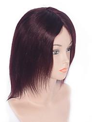 abordables -Femme Perruques capless à cheveux humains vin foncé Court Droite Ligne de Cheveux Naturelle