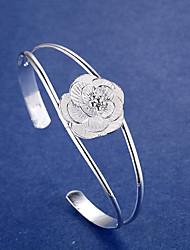 Браслет женской манжеты простой стиль элегантный серебряный цветок ювелирные изделия для свадьбы