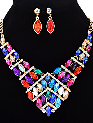 cheap -Women's Crystal Geometric Jewelry Set - Crystal Fashion Include Rainbow / Red / Blue For Formal / Club
