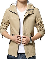 cheap -Men's Work Simple Casual Long Plus Size Cotton Jacket-Solid Colored