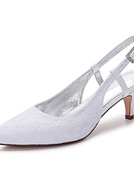 cheap -Women's Shoes Lace Satin Spring Summer Comfort Wedding Shoes Pointed Toe Rhinestone Sparkling Glitter Hollow-out For Wedding Party &