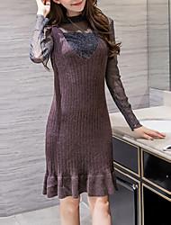 Tee-Shirt Robes Costumes Femme,Couleur Pleine Usage quotidien Décontracté / Quotidien Mignon Automne Hiver Manches longues Mao Polyester
