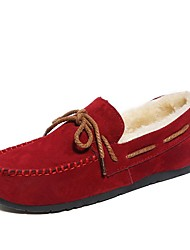 cheap -Women's Shoes Suede Winter Moccasin Boat Shoes Round Toe Bowknot For Casual Green Red Brown Gray Black