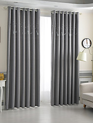 cheap -Rod Pocket Grommet Top Tab Top Double Pleat Pencil Pleat Curtain Contemporary Formal Casual Kids and Teen Country, Hollow Out Solid