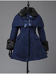 cheap -Winter Sweet Lolita Cape Coat Princess Wool Women's Girls' Adults' Coat Cosplay Cyan Long Sleeves
