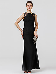 cheap -Sheath / Column Straped Floor Length Chiffon Formal Evening Dress with Sash / Ribbon Pleats by TS Couture®