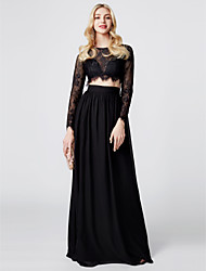 cheap -Sheath / Column Two Piece Jewel Neck Floor Length Chiffon Sheer Lace Prom / Formal Evening / Black Tie Gala / Holiday Dress with