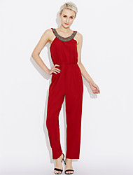Women's Daily Casual Solid Round Neck Jumpsuits,Harem Loose Sleeveless Summer Cotton Polyester Spandex