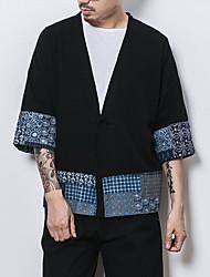 cheap -Men's Daily Simple Casual Fall Jacket,Color Block V-neck Long Sleeves Regular Cotton Linen
