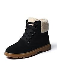 Feminino Sapatos Couro Ecológico Inverno Outono Botas de Neve Coturnos Botas Para Casual Preto Marron Vermelho