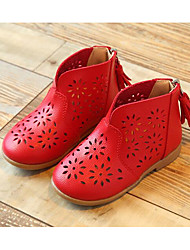 cheap -Girls' Shoes PU Spring Fall Bootie Comfort Boots for Casual White Red Pink
